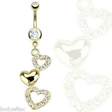 SEXY 14KT GOLD PLATED CASCADING HEARTS DANGLE NAVEL BELLY RING W/MULTI CZ'S