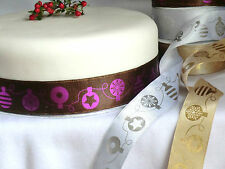 1 mtr 40mm QUALITY,WIRED SATIN + METALLIC,BAUBLES RIBBON, CHRISTMAS,CRAFT,FLORAL