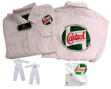 CASTROL CLASSIC WHITE MECHANICS OVERALLS / BOILER SUIT with LOGO FRONT & REAR