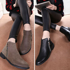 2014 WOMEN BOOTS SHOES FLAT ANKLE BOOTS LOW HEEL ZIP UP BOOTIES CASUAL WORK SIZE
