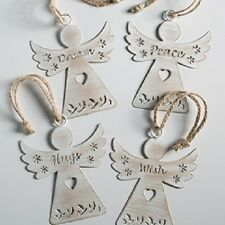 Vintage Chic Metal Hanging Angel Christmas Tree Decoration Ivory Traditional