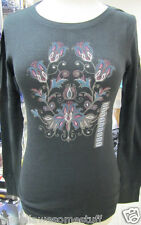 LUCKY BRAND Thermal L/S SHIRT Top in Black Floral SIZES Sml Med Lrg XL NEW w/TAG