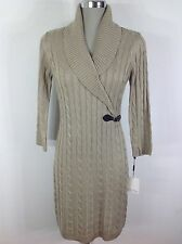 Calvin Klein NEW Cable sweater dress KHAKI , long sleeve,shawl collar size S- XL