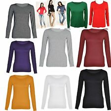 Womens Ladies Plain Round Neck Long Sleeve Top T-Shirt Hot Selling Sexy Look*RN