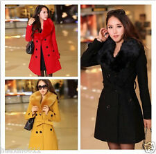 Large yard Women's Wool Slim Double-Breasted Trench Parka Winter Coat Jacket