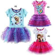 Girls Frozen Princess Elsa Anna Top T-Shirt Cake Tutu Skirt Dress Outfit Clothes