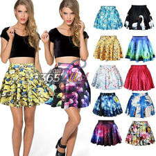 Womens 3D Printed High Waist Pleated Floral Short Mini Skirt Skater Flared Dress