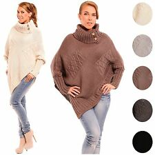 Glamour Empire Women's Turtleneck Buttons Long Sleeve Knit Poncho Cape Top 312