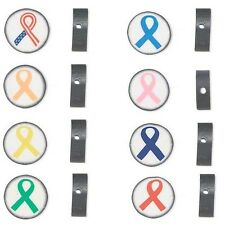 10 Double Sided Polymer Ribbon Awareness Polyclay 14mm Round Disc Clay Beads