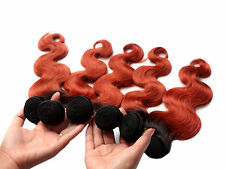 "New 2tone 1b/350# BRAZLIAN HUMAN HAIR 50g BODY WAVE 6A grade 10""-30"" Extensions"