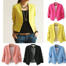 2014 New Women Ladies Candy Color Solid Slim Suit Blazer Coat Jacket Tops S M L