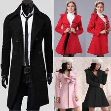 ❤FREE P&P❤TOP New Men Women Jacket Winter Long Windbreaker Blazer Pea Coat Outer