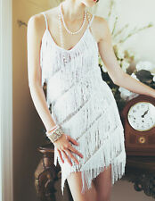 S M L FLAPPER FRINGE 1920s WHITE GREAT GATSBY CHARLESTON SEQUIN LATIN DRESS