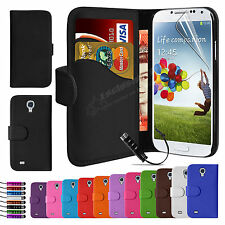 Flip Wallet Leather Case Cover For Samsung Galaxy S4 i9500 Free Screen Protector