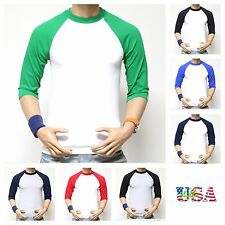 Men 3/4 Sleeve Baseball Raglan Sports Jersey T-Shirt Crew Neck Heavy Tee S-3XL