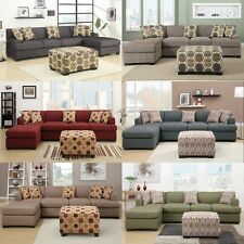 Sectional Sofa Couch L Shape Set Bobkona Trenton 2 Pc Living room furniture set
