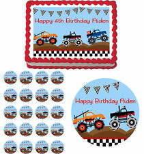 Monster Trucks Edible Birthday Party Cake Topper Cupcake Image Decorations