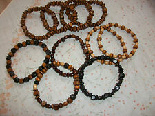 BOYS BRACELETS - MIXED WOOD SHAPES & COLOURS - FRIENDSHIP, SURFER, GIFT