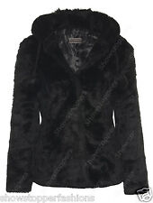 NEW FAUX FUR COAT Womens Hooded Black JACKET Size 8 10 12 14 16 Winter Warm