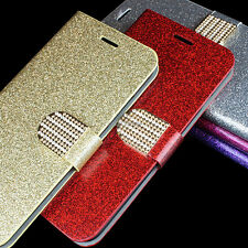 For HTC Desire 510 Color PU Leather Glitter Bling Wallet Flip Pouch Case Stand