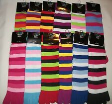 1 pair Women's/Ladies/Girls Striped Multi-Color TOE SOCKS, Size 9-11 NWT