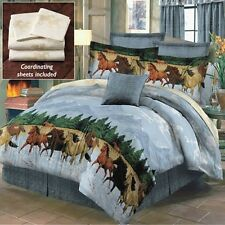 Western Running Galloping Horses By The Water Blue Bed In A Bag Complete Bed Set