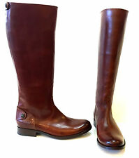 FRYE MELISSA BUTTON BACK ZIP COGNAC LEATHER KNEE HIGH BOOT