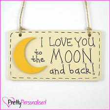 Personalised I Love You To The Moon And Back Plaque Sign Valentines Love Present