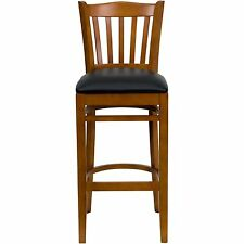 HERCULES Series Finished Cherry Vertical Back Slat Wooden Restaurant Bar Stool