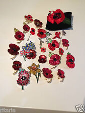 UNBOXED RBL BUCKLEY KLESHNA & UNBRANDED REMEMBRANCE DAY POPPY BROOCH POPPIES PIN