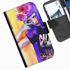 Katy Perry  Leather wallet personalised phone case for Samsung Galaxy