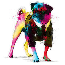 Pug Dog Colourful Abstract Art WALL ART CANVAS FRAMED OR POSTER PRINT
