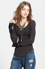 NWT Free People Masquerade Cuff Thermal Top Shirt  Black  XS S M L