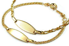 "Gold Double Engraving Plate Bracelet 5.1-5.9""Identity"