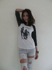 FLEETWOOD MAC RUMOURS Rock Punk Raglan T-Shirt Women's White Graphic Tee Bunny