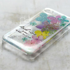 XAA Natural Pressed Real Flower DIY Floral Bling Resin Back Hard Skin Case Cover