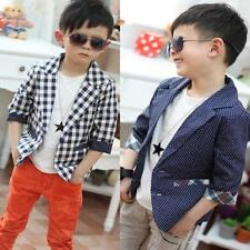 Fashion Suit Jacket Coat Kids Toddlers Boys Plaid Check Dots Blazer Clothing W25