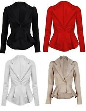 Ladies Long Sleeved Peplum Blazer Jacket Size 8 - 16