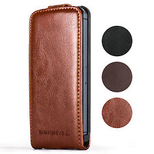 SNAKEHIVE® Genuine Real Leather Flip Case Cover for Apple iPhone - All Models