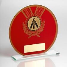 Red & Gold Glass Cricket Trophy,Award,3 Sizes,FREE Engraving