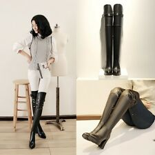 Fashion Womens Punk Chunky Heel Belt Buckle Over Knee High Boots Knight Boots Sz