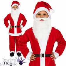 CHILDS BOYS FATHER CHRISTMAS FANCY DRESS SANTA SUIT COSTUME WITH BEARD ALL SIZES