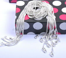 """12pcs FREE SHIP 16"""" 18"""" 20"""" Solid Silver Plated Snake Chains Necklace 1MM"""