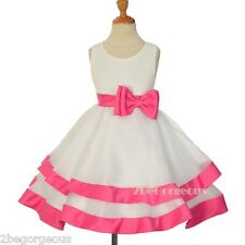Lace Tiered Bridesmaid Flower Girl Occasion Dresses Ivory Hot Pink Age 2-9y #310