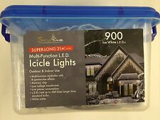 CHRISTMAS OUTDOOR LED ICICLE LIGHTS 180 - 900 ICE/WARM WHITE ELECTRIC BLUE PARTY