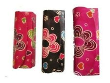 Bright Bold Funky Flower Womens Leather Reading Glasses Case Black Red or Pink