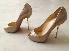 PREOWNED CHRISTIAN LOUBOUTIN CUSTOM GLITTERED GOLD CHAMPAGNE OPEN LIPS 35.5