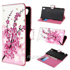 Wallet Flower 37 PU Leather Stand Flip Case Cover For Sony Mobile Phone + Stylus