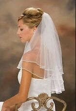 HOT Sale New Ivory or white 2t Wedding Bridal elbow Satin Edge Veil with comb