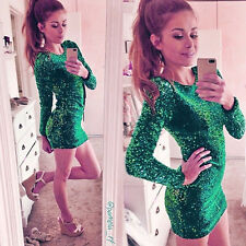 Women Green Sequin Sexy Backless Long Sleeve Party Cocktail Club Bodycon Dress